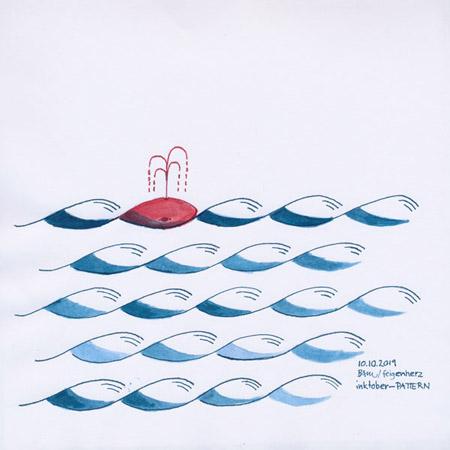 10-inktober2019-PATTERN-w, Tuschezeichnung, Muster von blauen, stilisierten Wellen und rotem Wal