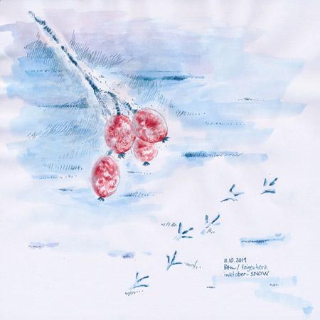 11-inktober2019-SNOW-w, Tuschezeichnung, Hagebutten am Zweig, Schnee, Vogel-Spuren