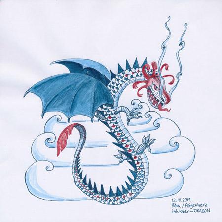12-inktober2019-DRAGON-w, Tuschezeichnung eines chinesischen Drachens mit Wolke