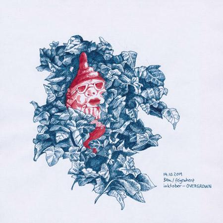 14-inktober2019-OVERGROWN-w, Tuschezeichnung, Gartenzwerg von Efeu überwuchert