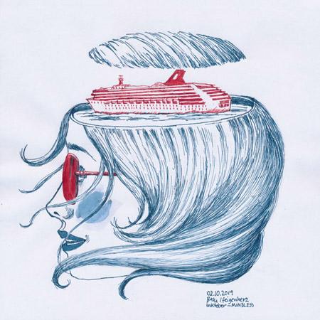 2-inktober2019-MINDLESS-w, Tuschzeichnung Kopf, Frau mit roter Sonnenbrille, im Kopf ein rotes Kreuzschiff