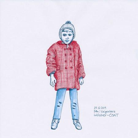 27-inktober2019-Coat-w, Tuschezeichnung, Kind mit rotem, karierten Mantel und blauer Mütze