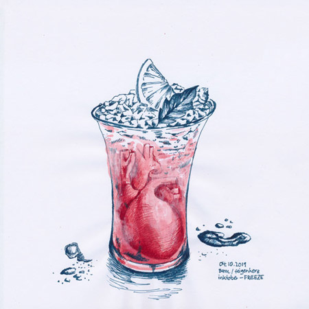 4-inktober2019-FREEZE-w, Tuschezeichnung von hohem Glas mit crushed ice und einem Herz