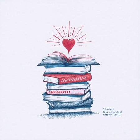 5-inktober2019-BUILD-w, Bücherstapel, ganz oben ein aufgeschlagen Buch, darüber schwebt ein rotes, strahlendes Herz