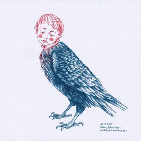 7-inktober2019-ENCHANTED-w, Tuschezeichnung eines Raben mit einem Kinderkopf, verzaubertes Kind
