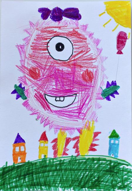 Anna,Age6,fromRussia-Monster, die Originalzeichnung des Kindes