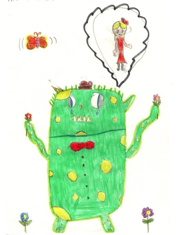 Maya,Age7,from-Taranto,Italy, Originalkinderzeichnung eines weinenden Monsters, das einem kleinen Mädchen mit Flügeln in einer Gedankenblase Blumen reicht und Herzchen sendet