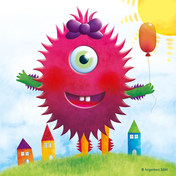 feigenherz-Monster-Anna1, digitale Zeichnung/Umsetzung einer Kinderzeichnung, ein lachendes, haariges Monster mit Schleife auf dem Kopf, das einen haushohen Luftballon in der Hand hält, es steht auf einer Wiese zwischen 3 bunten Häusern, am Himmel die strahlende Sonne