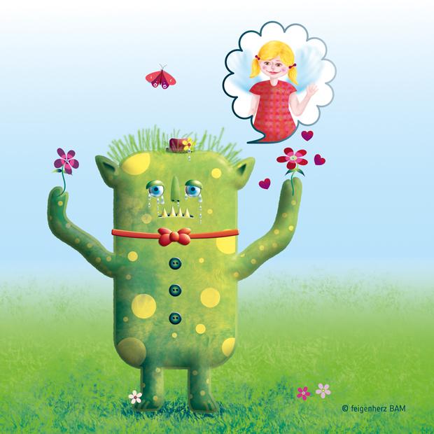 feigenherz-Monster-Maya1, digitale Zeichnung/Umsetzung einer Kinderzeichnung, ein weinendes Monster, das einem kleinen Mädchen mit Flügeln in einer Gedankenblase Blumen dar reicht und Herzen zum ihm sendet