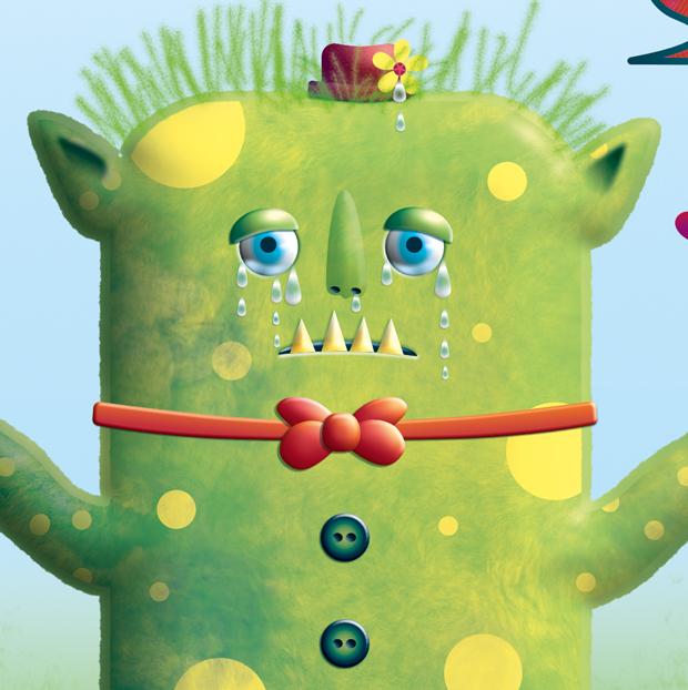 feigenherz-Monster-Maya2feigenherz-Monster-Maya1, digitale Zeichnung/Umsetzung einer Kinderzeichnung, Detail eines weinenden Monsters, traurige Augen und Tränen, Blümchen am Hut des monsters weint auch