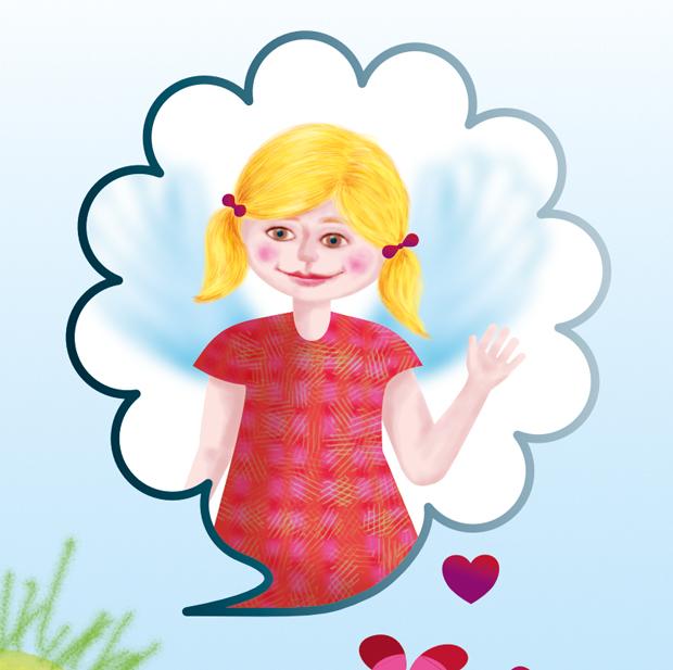 feigenherz-Monster-Maya3, feigenherz-Monster-Maya1, digitale Zeichnung/Umsetzung einer Kinderzeichnung, Detail eines kleinen Mädchens mit Flügeln in einer Gedankenblase, das lächelt und winkt