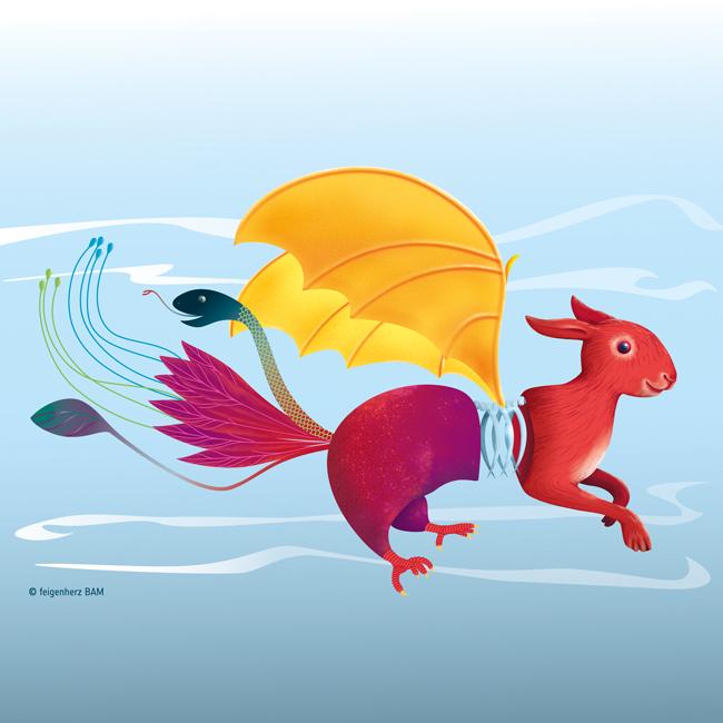 feigenherz-Monster-PikulinaValeria-w1, digitale Zeichnung/Umsetzung eines Monsters, das aus verschiedenen Tieren zu bestehe scheint, mit Hasengesicht- und Pfoten, Flügel, einem Hinterteil mit Krallen, einem Schwanzteil aus federn und einer Schlange