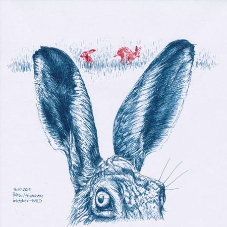 16-inktober2019-WILD-w, Tuschzeichnung Feldhase im Vordergrund (angeschnitten), im Hintergrund 2 Hasen im Gras
