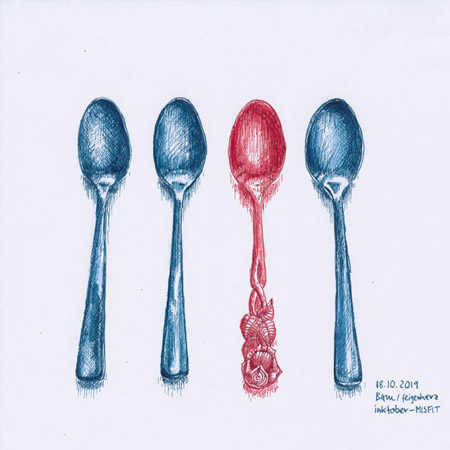 18-inktober2019-MISFIT-w, Tuschezeichnung von 3 gleichen blauen Kaffeelöffeln und einem roten, der einen anderen Stil hat