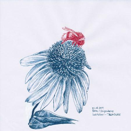 21-inktober2019-TREASURE-w, Tuschezeichnung, Echacinea – Sonnenhutblüte mit Hummel