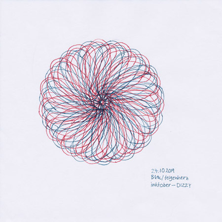 24-inktober2019-DIZZY-w, Tuschezeichnung einer spiralförmigen, linearen Blüte, einmal in blau und einmal rot, übereinander versetzt