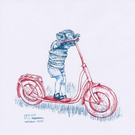 28-inktober2019-ride-w, Tuschezeichnung, kleiner Junge mit Roller